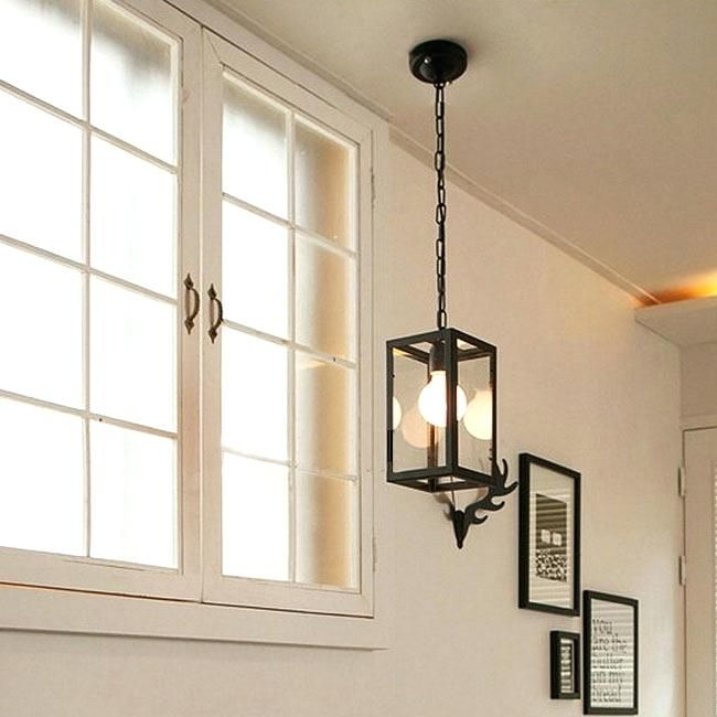 Square Pendant Light North Iron Frame And Gl Shade