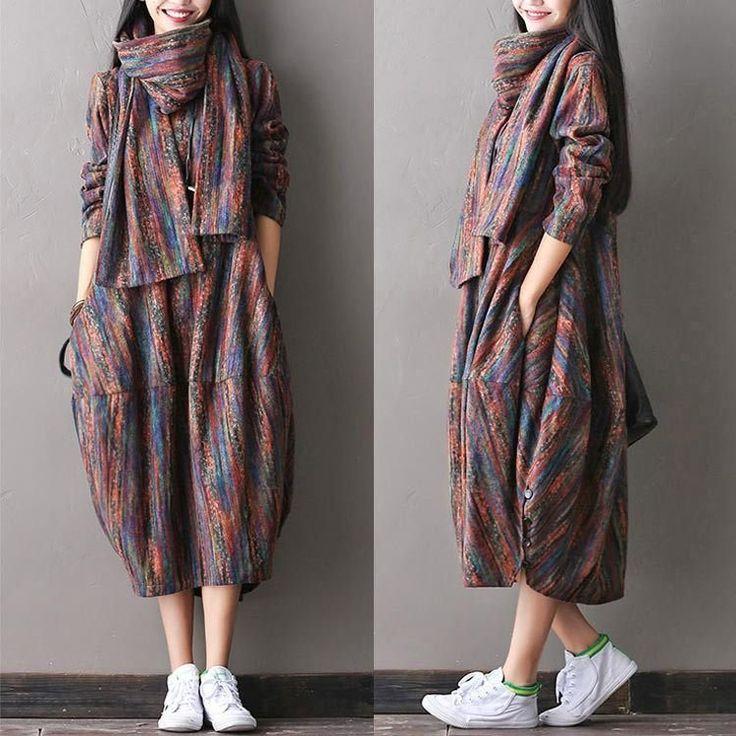 Women woolen autumn dress – Buykud
