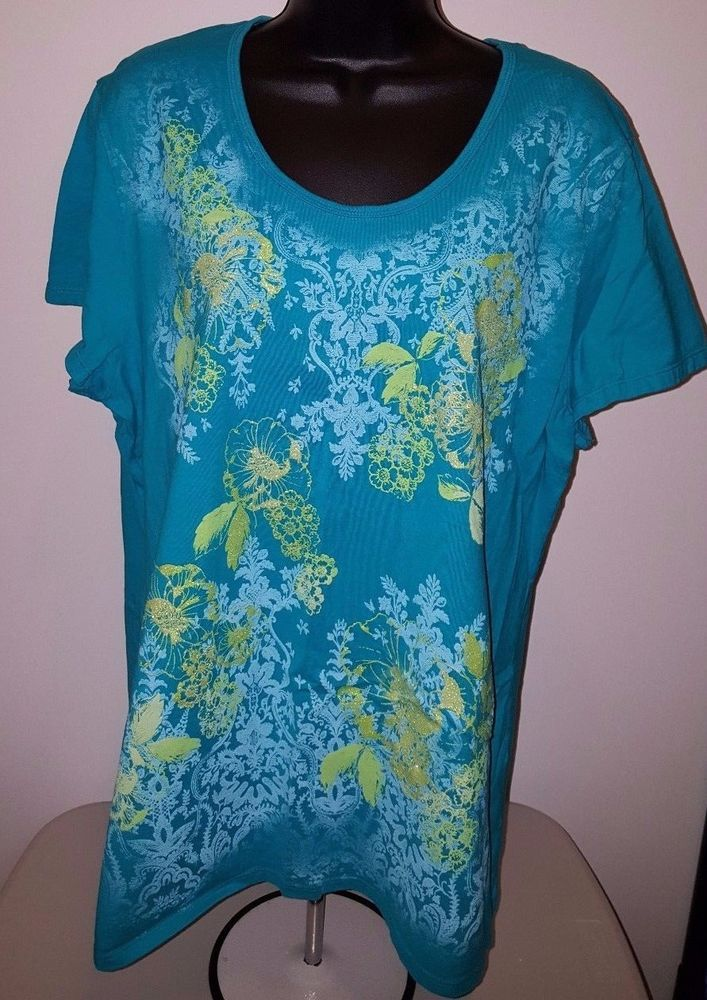 Just My Size Woman's Plus Bluish Green/Green/Blue Floral Shirt Size 2X (18W/20W) #JustMySize #Shirt #Casual