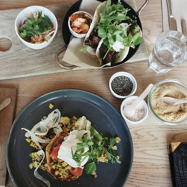 Ocean trout & ricotta hotcakes and Korean-style beef rib tacos! #hotcakes #brunch #melbourne #richmond