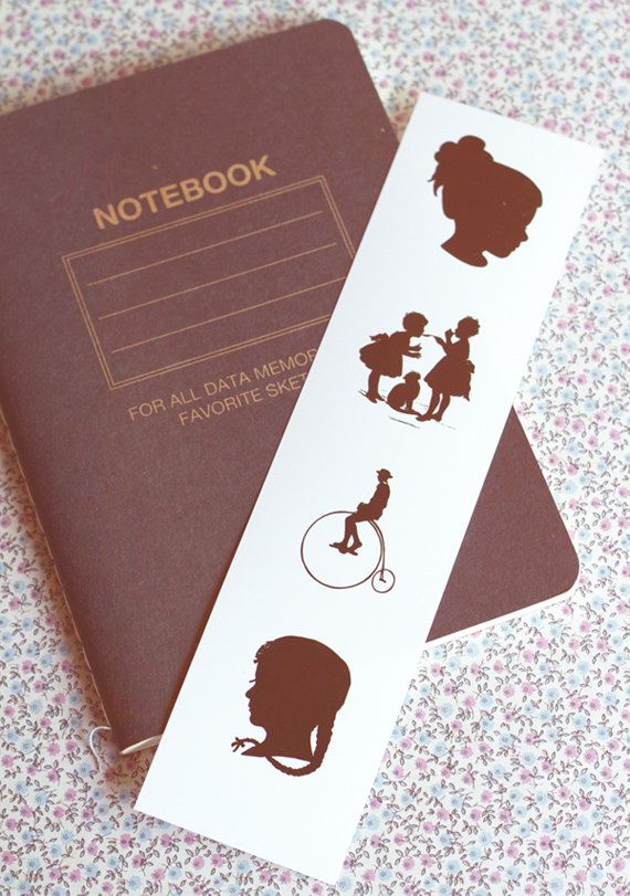Victorian silhouettes.Vintage silhouettes bookmark. Book lover