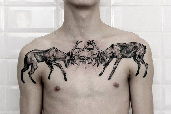 Symmetrical Chest Tattoo Ideas For Men And Women Symmetrical Tattoo Tattoos Design Ideas Men Women Symmetrical Tattoo Tattoos Buck Tattoo