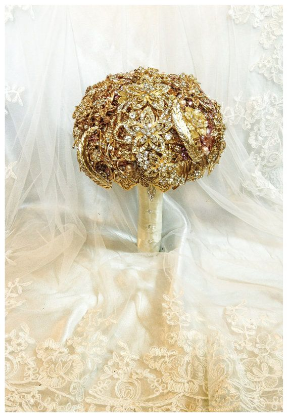 Gold Wedding Brooch Bouquet. Deposit on made to by NatalieKlestov, $55.00