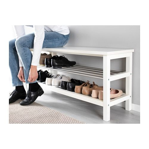 "TJUSIG Bench with shoe storage - white - IKEA = 42.5"" wide, 19 5/8 tall, 13 3/8 deep; $60"