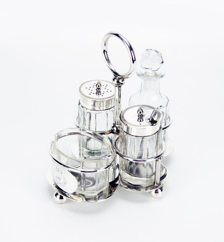 English Silver Plate / Glass Royal Air Force Condiment Set