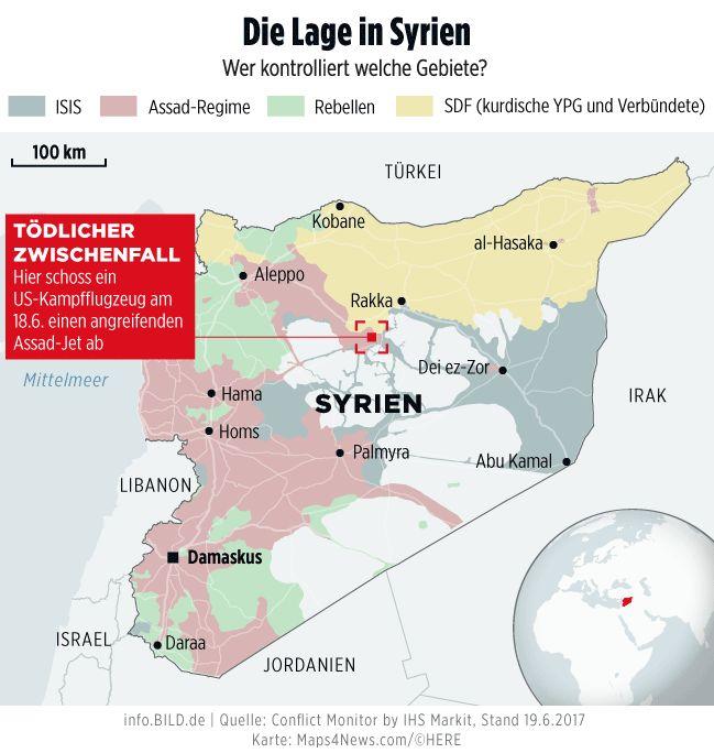 USA schießen Assad-Jet ab – Lage in Syrien