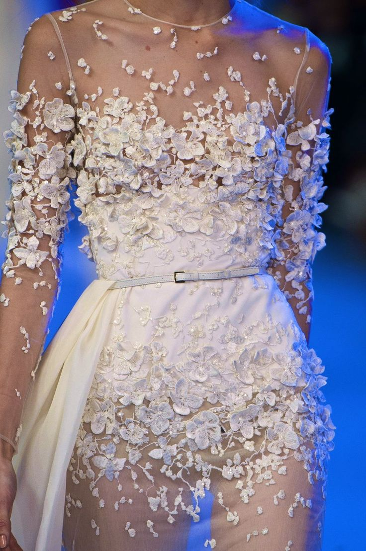 Elie Saab, model, runway, haute couture, couture, fashion, high fashion, Paris Fashion Week, fashion week, ball gown, chiffon, tulle, lace, sequins, crystals, gemstones, jewels, beading, sparkles, details, embroidery, Spring 2014,