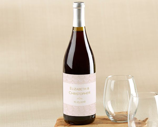Kate Aspen's Personalized Wine Bottle Labels in Modern Romance designs attach to bottles of wine by replacing the existing label, giving you personalized wine bottle wedding favors in seconds!