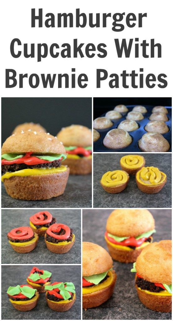 Delicious Hamburger Cupcakes With Brownie Patties.         Perfect for your next barbecue, end of school party, summer birthday party or graduation party. Homemade recipe included.