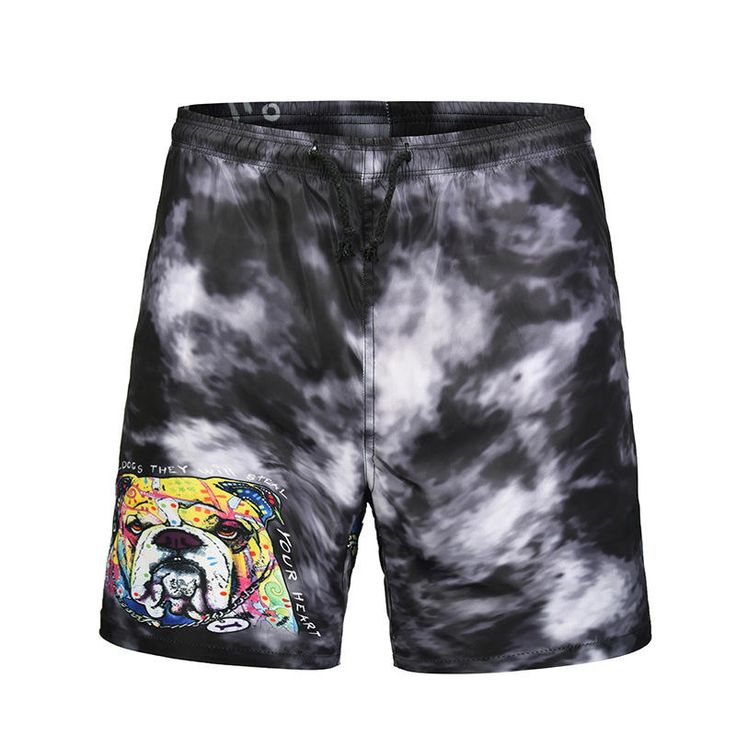 [US$16.99] S664 Men Swimming Pants 3D Cartoon French Bulldog Printing Beach Shor…
