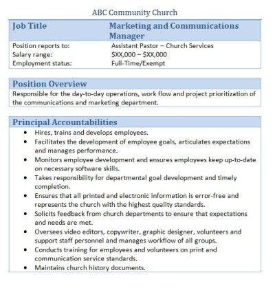 church marketing and communications manager job description copywriter job description