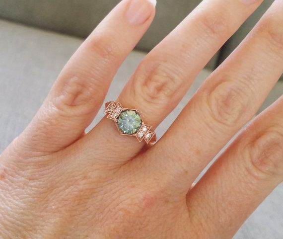 "Antique Diamond Mint Moissanite Engagement Ring Rose Gold 1920s Copper Gemstone Rustic Bohemian PenelliBelle Green Exclusive ""The Florence"" // PenelliBelle // Etsy"