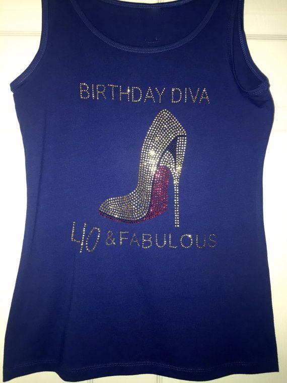Birthday Diva gold Rhinestone shirt . Slouchy flowy birthday