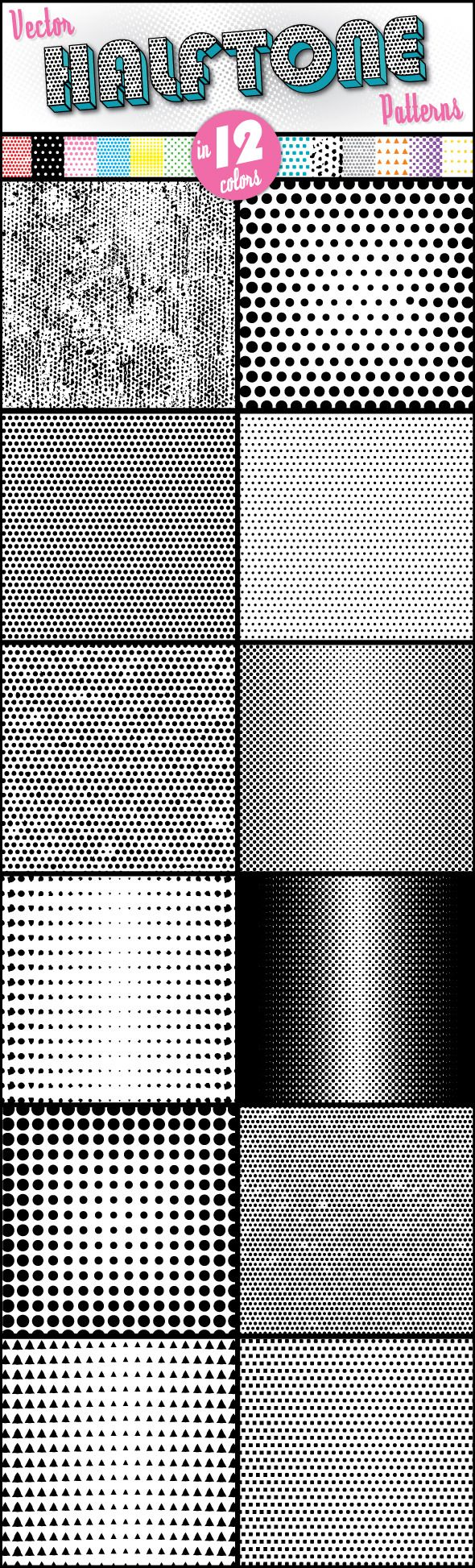 Halftone Patterns for Adobe Illustrator #design #ai Download: http://graphicriver.net/item/halftone-patterns/7855154?ref=ksioks