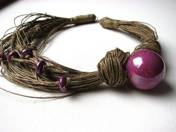 Ceramic Lavender linen necklace by GreyHeartOfStone on Etsy, $29.00