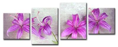 Cuadro moderno de flores lilas, compuesto por 4 piezas. Disponible en varios tamaños.