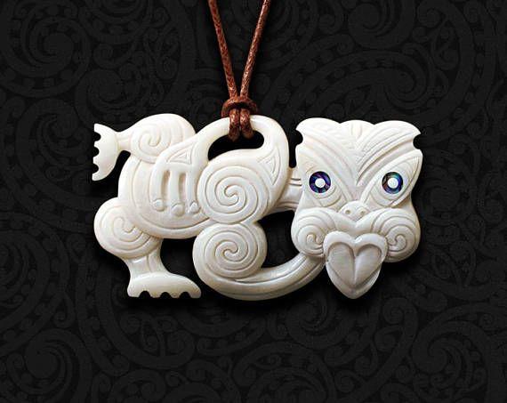 Maori Necklace New Zealand Tribal Bone Carving Pendant Handmade By Tuwharetoa Bone Hei Tiki Tiki Tattoo Maori Tiki