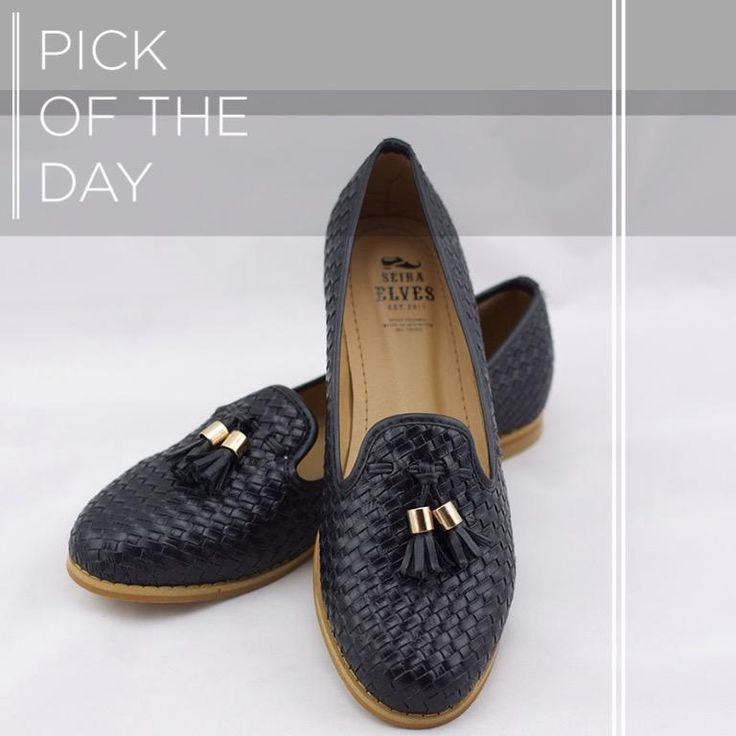 A criss-cross weaving technique pattern. Black loafers are good all year round. #pickoftheday