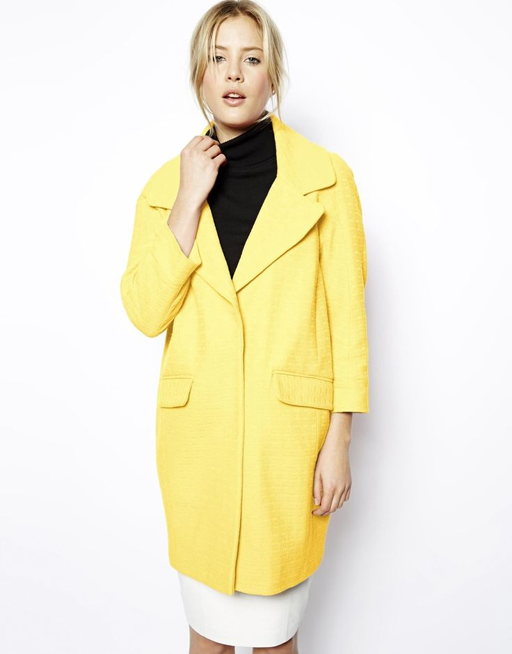 Fresh as a lemon, cocoon in shape, 100% pure cotton - for those busichics who aren't afraid of colour! ASOS Textured Coat