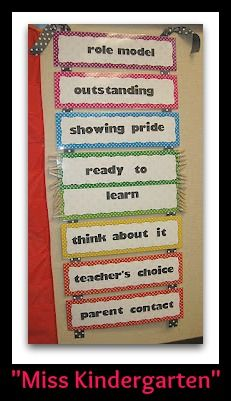Miss Kindergarten's Behavior Chart (Behavior Chart RoundUP via RainbowsWithinReach)