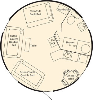 Deluxe yurt layout from umpqua lighthouse state park on for Oregon state parks yurts and cabins