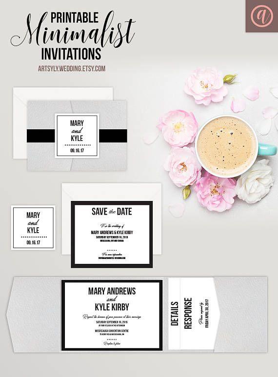 Printable Minimal Wedding Invitation Set Classic Wedding