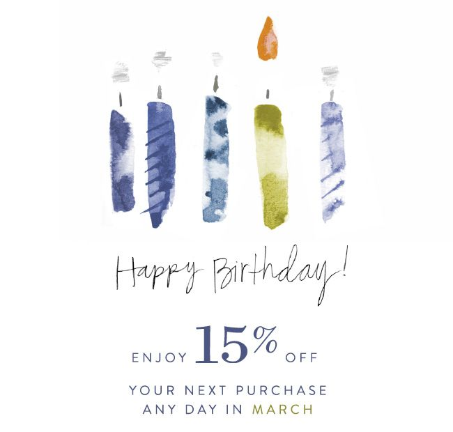 Anthropology 15% off birthday email design