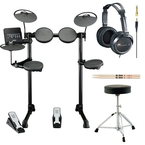 Yamaha DTX400K Electronic Drum Set with Drum Throne Headphones and Drumsticks
