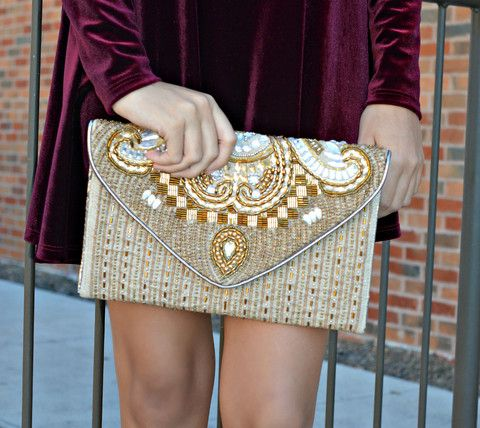 High Maintenance Clutch - Embellished gold clutch for the glam girl on the go!