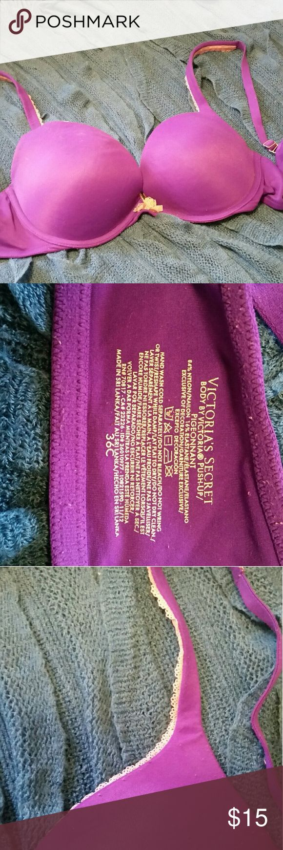 **BOGO Item** VS Bra BOGO Free Item*** Buy any item in the closet of equal or greater value and I'll include this item FREE!!  Purple Body by Victoria bra. Push up and underwire. Good used condition, some pilling visible in the photos. Still has a lot of life left! Victoria's Secret Intimates & Sleepwear Bras