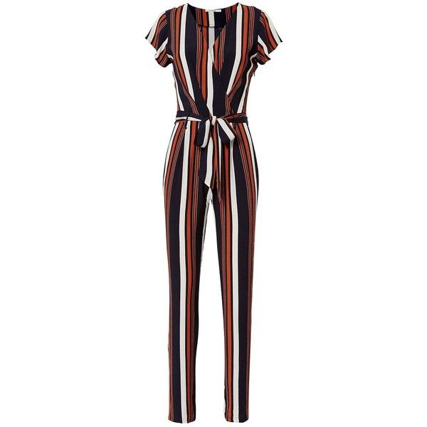 Tularosa Women's Montana Striped Jumpsuit ($265) ❤ liked on Polyvore featuring jumpsuits, tie belt, white jumpsuit, striped jumpsuits, white jump suit and jump suit