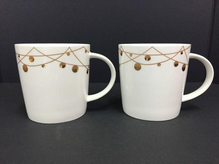 Starbucks Christmas Mugs 2012 Holiday Gold Balls Ornaments New Bone China Set #Starbucks