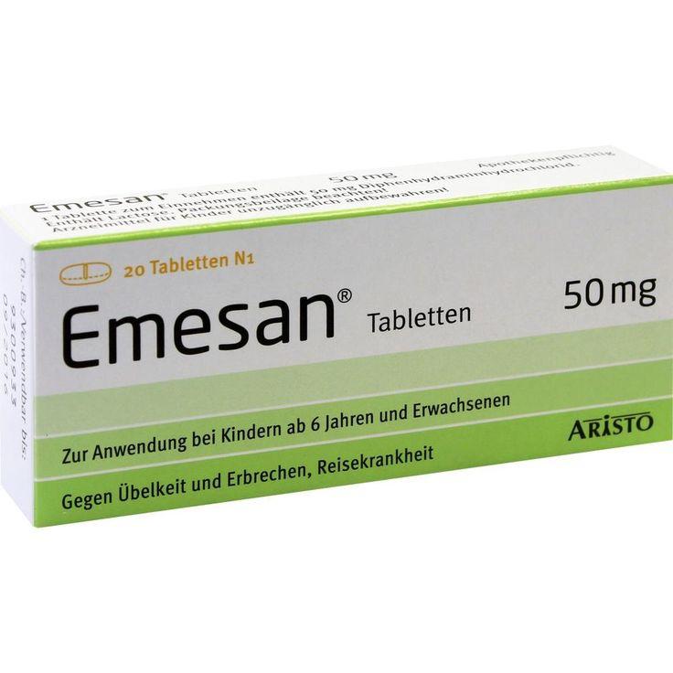 EMESAN Tabletten bei Übelkeit, Erbrechen und Reisekrankheit:   Packungsinhalt: 20 St Tabletten PZN: 02450977 Hersteller: Aristo Pharma…