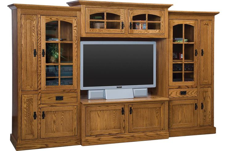 Amish Mission Deluxe Wall Unit Stunning solid wood living room furniture with plenty of storage and display room.