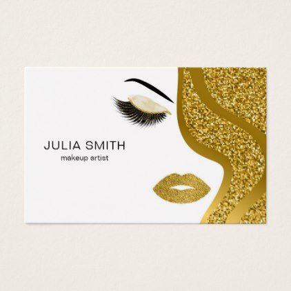 #makeupartist #businesscards - #Makeup artist business card with glitter effect
