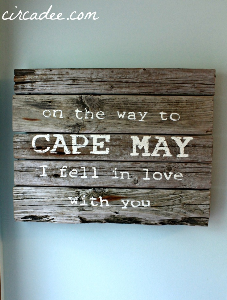On the Way to Cape May weathered driftwood sign