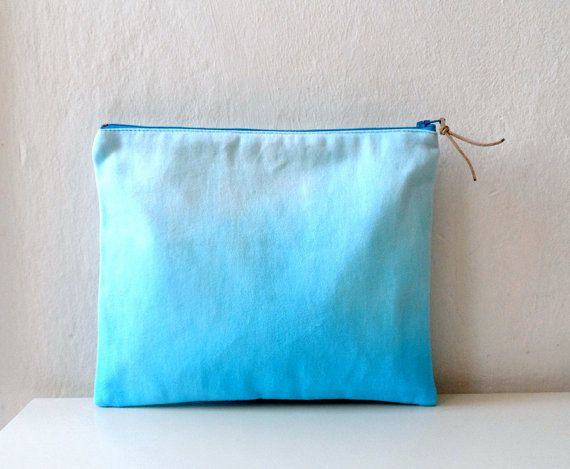 Aqua Blue Ombre Clutch/ Ombre zipper Pouch/ Summer by ShebboDesign, $26.00