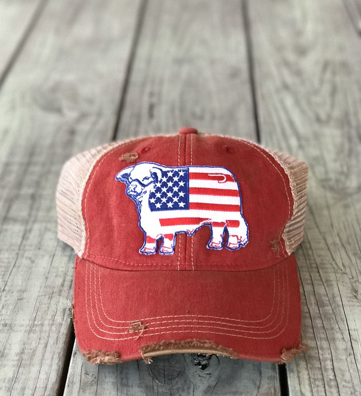 Red Distressed American Flag Patch Hat