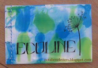 Nota Bene: Stage Wieze juli 2016; boekje; booklet; achtergrond Ecoline; Ecoline background; kalligrafie; calligraphy; Japanse binding; Japanese binding; boekbinden; bookbinding