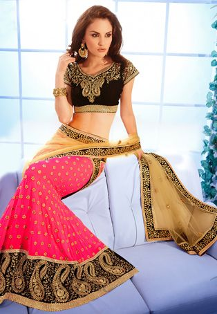 Beige #Net and Faux Georgette #Lehenga Style #Saree with Blouse