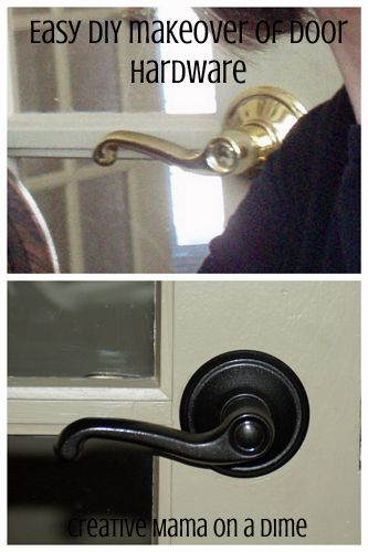 Easy DIY door hardware makeover - metallic oil rubbed bronze spray paint