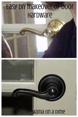 Easy DIY door hardware makeover - metallic oil rubbed bronze spray paint