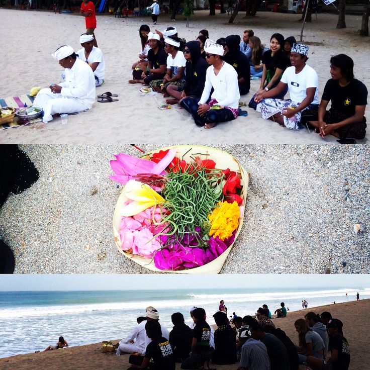 A ceremony this morning in Kuta Beach. Respect the ocean and for the safety in the water