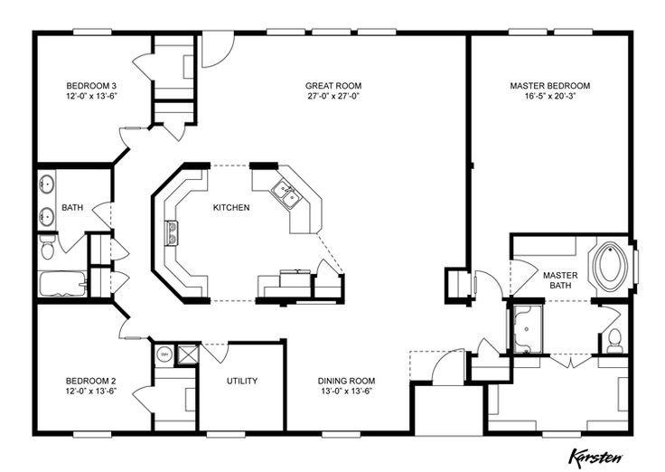 Interactive Floorplan K4060A HUD | 93KNM41603AH | Oakwood Homes of San Antonio - San Antonio, TX