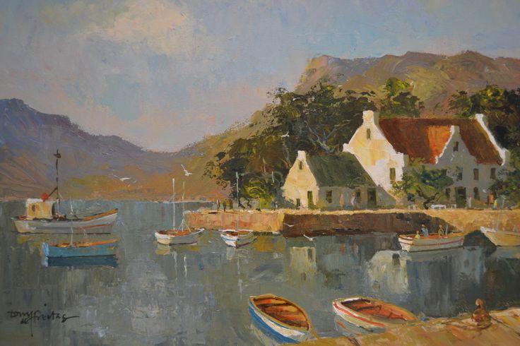 """Calm Waters"" Tony de Freitas  - oil on canvas 30x80"