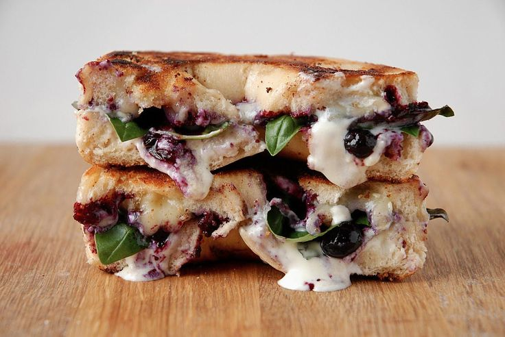 Blistered Blueberry Grilled Cheese with Mascarpone, Brie and Basil