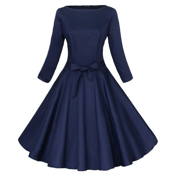 Wholesale Vintage Round Neck Long Sleeve Pure Color Women's Midi Dress Only $15.64 Drop Shipping   TrendsGal.com