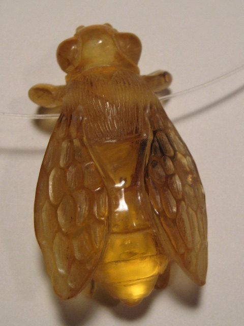 carved Amber  Bee bead  .......... LARGE size .........        42 x 24 x 15 mm .........         1240