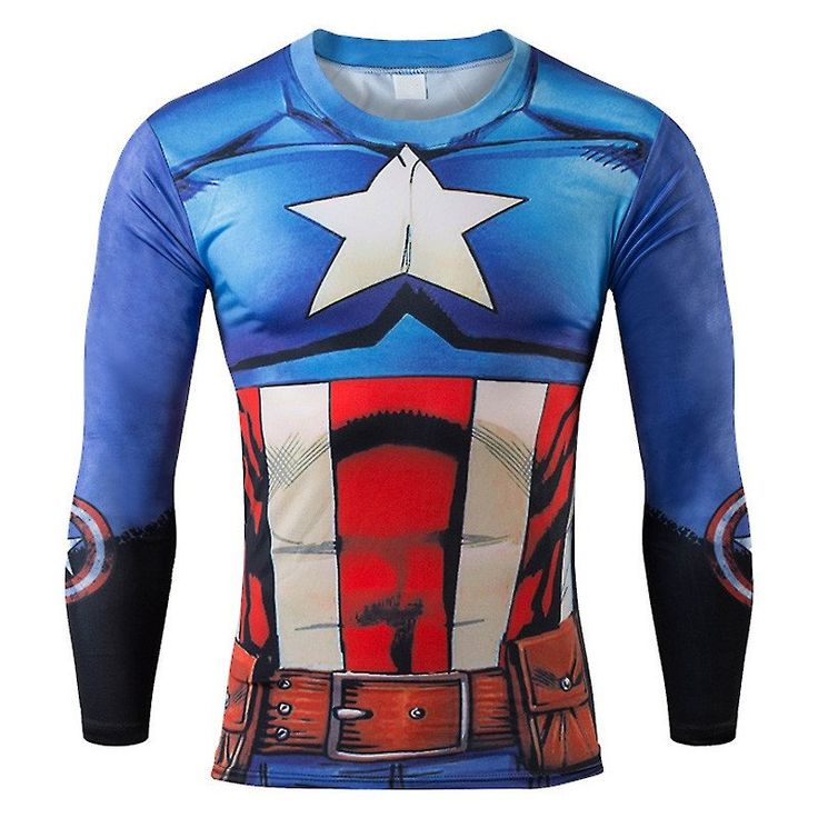 Captain America Costume 3D Print Long-Sleeved Fitness T-Shirt