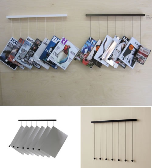 Hanging brochure holder - a cool way to display brand catalogues